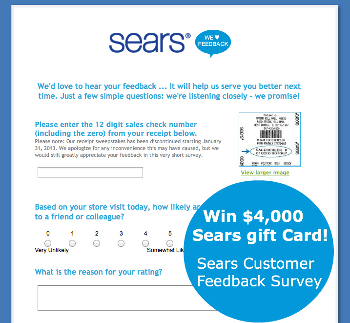 www.searsfeedback.com - win $4,000