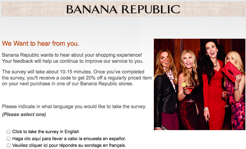 Survey4br.com Banana Republic Survey Requirements